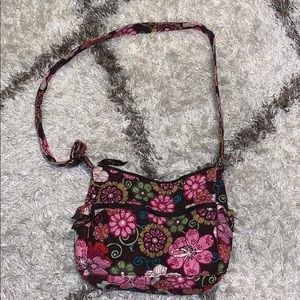 Vera Bradley brown pink colorful flower crossbody